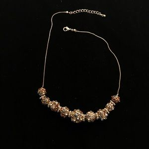 F21| Gold and Brown Jeweled Bead Choker Necklace